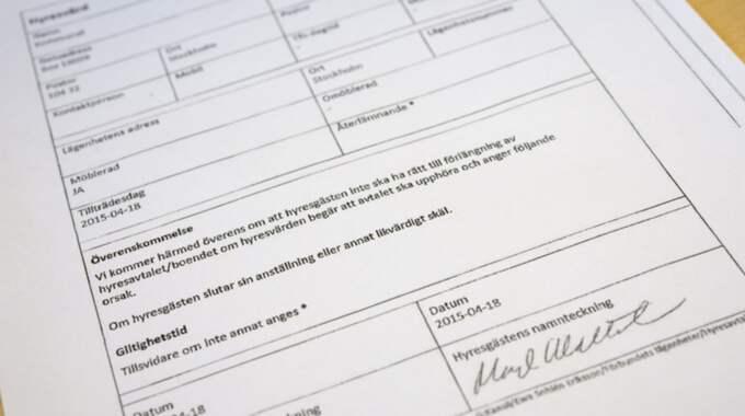 Margot Wallströms hyreskontrakt med Kommunal. Foto: Henrik Montgomery / Tt