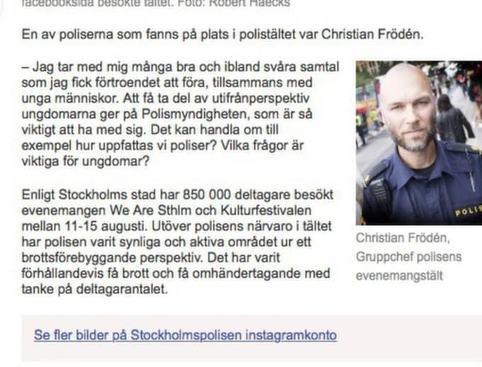 I polisernas officiella meddelande efter festivalen nämns inget om de misstänkta sexövergreppen.