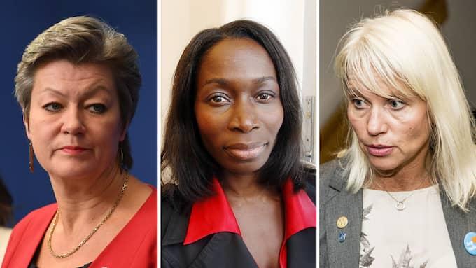 Tre kravställare i integrationspolitiken - Ylva Johansson (S), Nyamko Sabuni (L) och Vellinges Carina Wutzler (M).