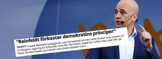 """I en debattartikel i Hallandsposten skriver den moderata kommun- och regionpolitikern Jerzy Golowkin i sällskap av två lokal- och regionpolitiker för Sverigedemokraterna att det är """"skrämmande och odemokratiskt"""" att Reinfeldt hellre lämnar över makten än förhandlar med SD. Foto: CORNELIA NORDSTRÖM"""