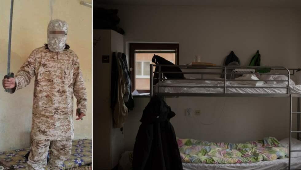"""Den kristne flyktingen Khaled från Syrien berättar att en muslimsk landsman hotade att """"skära halsen"""" av honom. Fallet gick till domstol där den hotfulle mannen (bilden till vänster) dömdes för olaga hot. Bilden till höger: Khaleds nuvarande asylboende."""