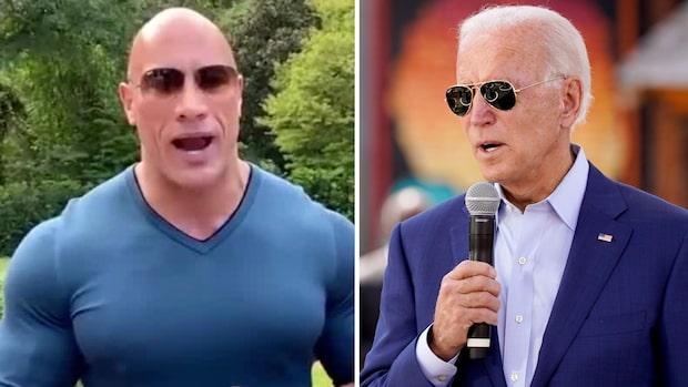 """Här ger stjärnan """"The Rock"""" sitt stöd till Joe Biden"""
