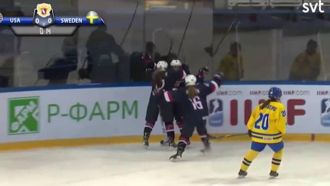 SVT har sänt en hel period – i tron om att de visar U18-finalen. Men har i stället visat en gammal match. Foto: SVT.