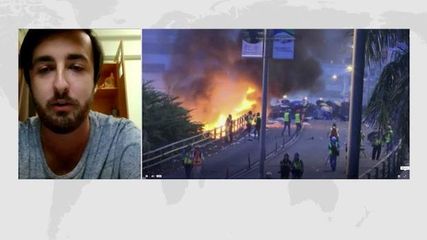 """Studenten Elias Lithell: """"Polisen börjar bli mer hårdhänta"""""""