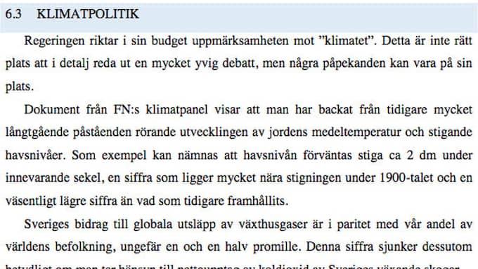 """""""Mot bakgrund av detta är Sverigedemokraterna avvaktande till vissa satsningar på """"klimatet"""""""", skriver SD under delen """"klimatpolitik"""" i sin budget. Foto: Sverigedemokraterna / SKÄRMDUMP"""