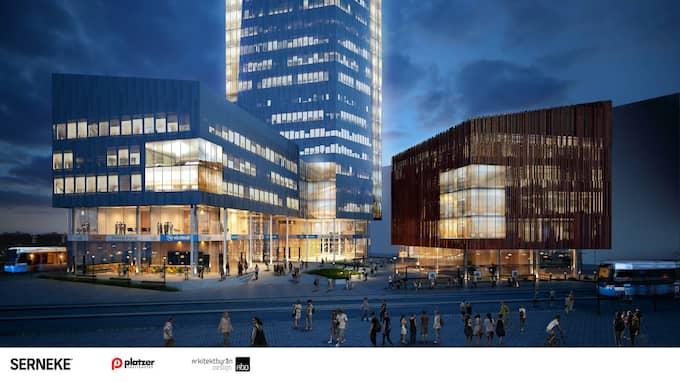 Det nya resenavet/resecentrum kring Gamlestads torg som just nu håller på att byggas. Foto: Illustration: Arkitektbyrån Design