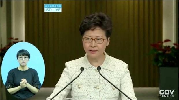 Hongkong-ledaren Carrie Lam om helgens våldsamma protester