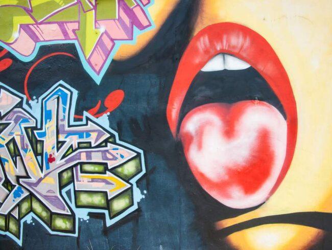 Målningar på en vägg i Wynwood.