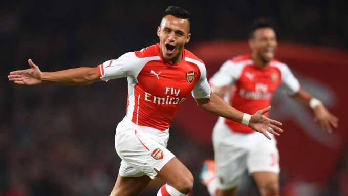 JUBELDAGS? Blir det guldjubel för Arsenal och Alexis Sanchez i år? Med nyförvärvet Peter Cech i truppen väntas svar på den eviga frågan hur bra Londonlaget blir med en stabil målvakt i truppen. Foto: Tony O'Brien
