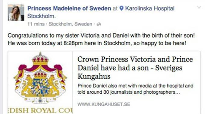 Syster Madeleine skickar sina lyckohälsningar på Facebook Foto: Facebook