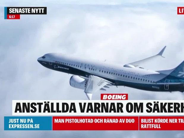 Anställda på Boeing varnar för flygplanets säkerhet