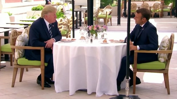 Trump och Macron lunchar under G7-mötet