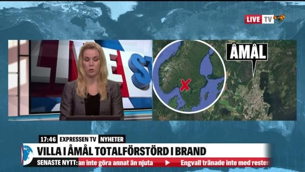 Villa i Åmål totalförstörd i brand