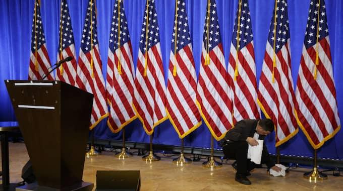 Nu möter Donald Trump pressen för första gången sedan i somras. Foto: Evan Vucci / AP TT NYHETSBYRÅN