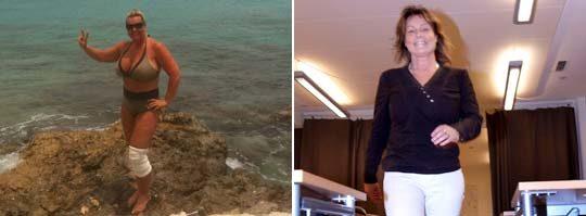 Annelie Hennigor före och efter viktraset.