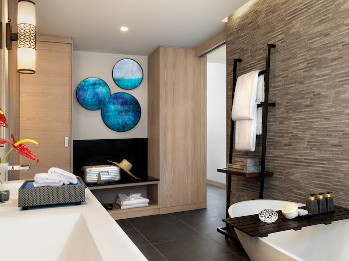 One of all bathrooms in the new luxury hotel that will soon open in Mauritius.