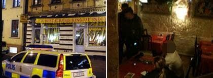 En man hittades död i en lägenhet ovanför Restaurang King of India på Första Långgatan i Göteborg i går eftermiddag. Polisen höll senare förhör med anställda och grannar i restauranglokalen nedanför. Foto: LEIF GUSTAFSSON och MAGNUS JOHANSSON