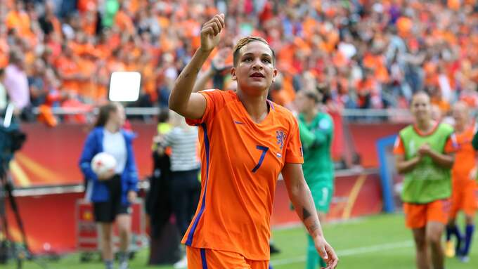 Shanice Van de Sanden efter segern mot Norge. Foto: CHARLOTTE WILSON / CHARLOTTE WILSON / OFFSIDE/IBL OFFSIDE SPORTS PHOT