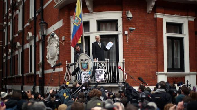 Assange på ambassaden i Ecuador. Foto: Carl Court