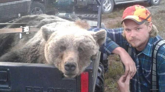 Kent Olsen bredvid den döda björnhonan. Han räddades av att björnen som jagade honom sprang in i ett träd. Foto: Privat
