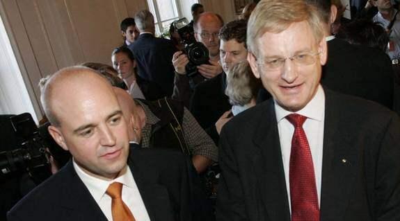 Statsminister Fredrik Reinfeldt och utrikesminister Carl Bildt. Foto: MAGNUS JÖNSSON