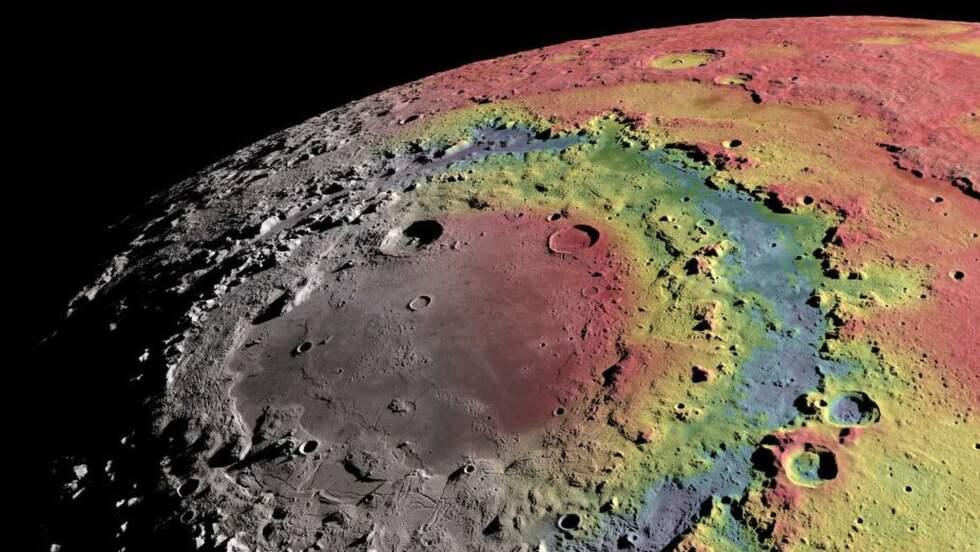 """Ett av återstående mysterier på månen har varit det stora slättområdet som går under det latinska namnet Mare Orientale, vilket betyder ungefär """"Östra havet"""". Området omsluts av tre ringar, vilket egentligen innebär berg eller upphöjningar i ytan. Foto: NASA/GSFC Scientific Visualization Studio"""