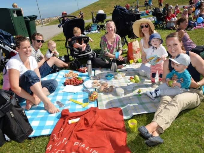 Familjerna Grosshög, Erichsen, Lindén och Morr passade på att äta frukost i det gröna medan de tittade på Sommarlovspremiären. Foto: Christer Wahlgren