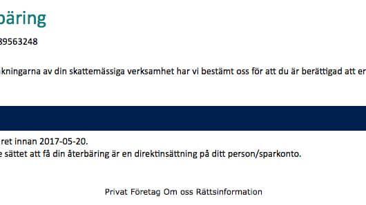 Så här ser mejlet ut som gått ut brett till svenskar.