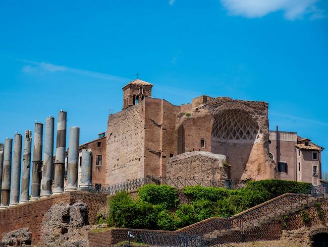 En ung man, som föll ner i en liten avgrund, lyckades hitta det forna palatset Domus aurea.