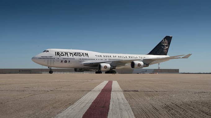 "Iron Maidens flygplan ""Ed Force One"" – en en 70 meter lång Boeing 747. Foto: IRON MAIDEN"