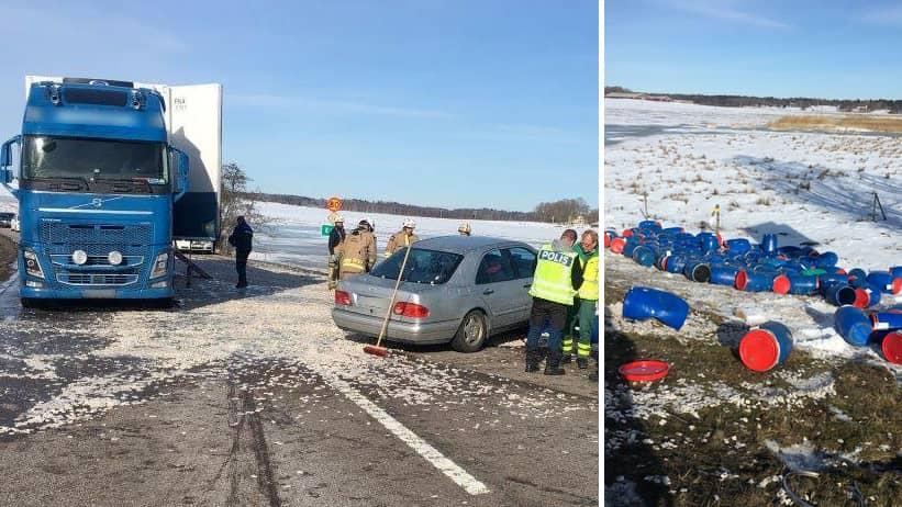 E45 avstangd efter olycka