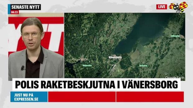 Polis beskjutna med raketer i Vänersborg