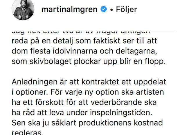 Idol-vinnarens kritik –  stoppas av kontraktet