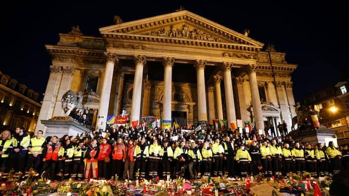 Tyst minut hölls för offren vid terrordåden i Bryssel i mars 2016. Foto: LAURENT DUBRULE / EPA / TT / EPA TT NYHETSBYRÅN