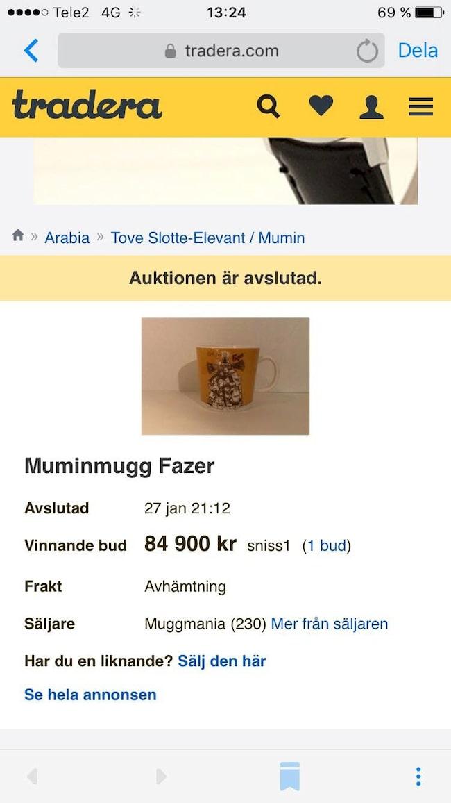... Nästan 85 000 kronor betalade hon för den eftertraktade Fazer-muggen på Tradera.