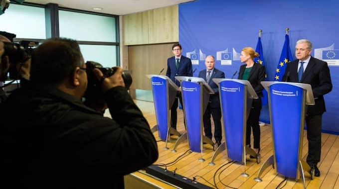 På mötet deltog EU:s flyktingkommissionär Dimitris Avramopoulos, Morgan Johansson, Danmarks integrationsminister Inger Støjberg och Tysklands Foto: Geert Vanden Wijngaert