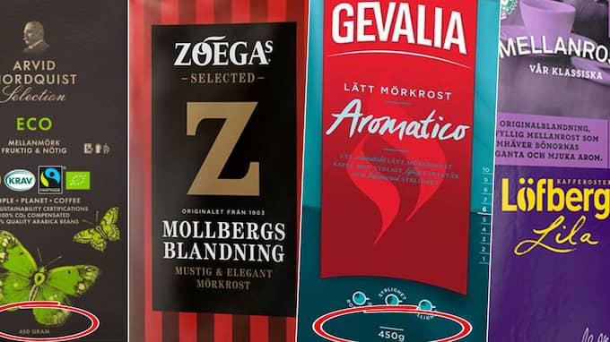 Flera av de stora kaffemärkena säljs numera i 450 grams förpackningar istället för den klassiska halvkilosvikten.