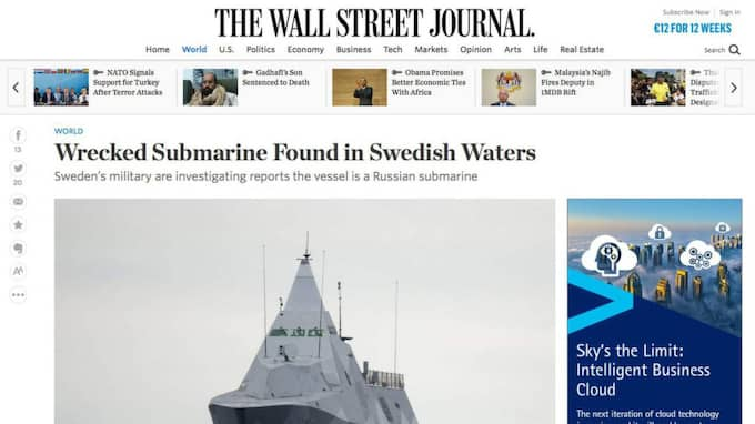 The Wall Street Journal skriver om hur nordiska medier spekulerat i om ubåten kan ha haft koppling till ubåtsjakten i oktober i fjol.