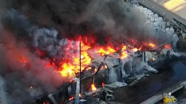 Dramatiska bilder från branden på Gotland