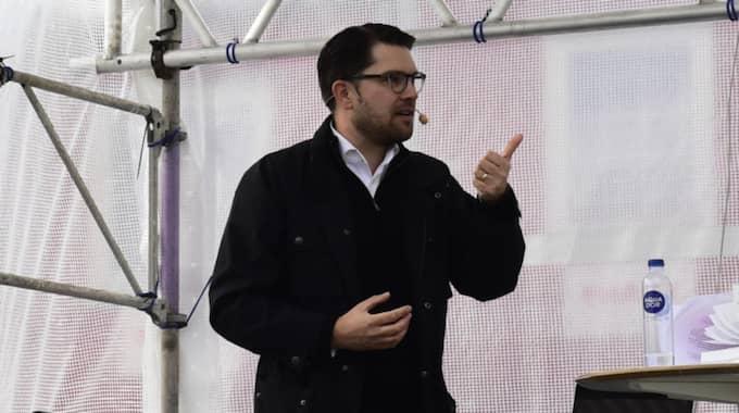 Jimmie Åkesson debatterade offentlig upphandling i Bromölla under fredagen. Foto: Tomas LePrince/Expressen