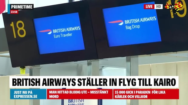 British Airways ställer in Kairoresor efter förhöjt terrorhot