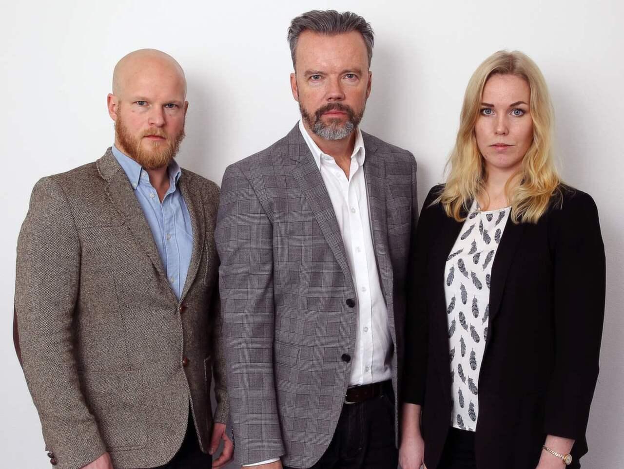 Gusten Holm, Lars Lindström och Cecilia Anderberg