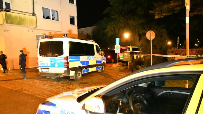 Polisen har både hundpatrull, insatsstyrkan och radiobilar på plats. Foto: MIKAEL NILSSON