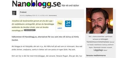 Niklas Jakobsen har startat Nanoblogg.se - bloggen där du skrivet ett enda ord. Foto: BILDEN ÄR ETT MONTAGE