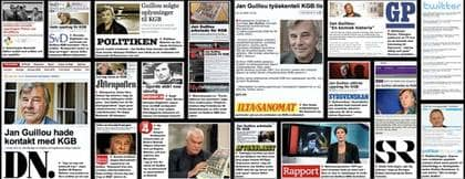GUILLOU AVSLÖJAD SOM HEMLIG SOVJET-AGENT. Expressens avslöjande om Jan Guillous hemliga bakgrund som KGB-agent gav eko i Sverige och utomlands. Foto: MONTAGE