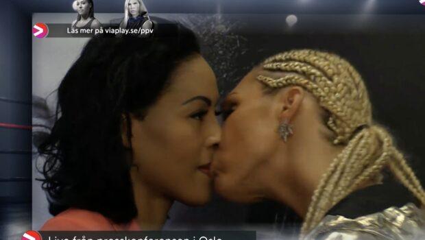 KUPPEN: Här kysser Laurén Braekhus