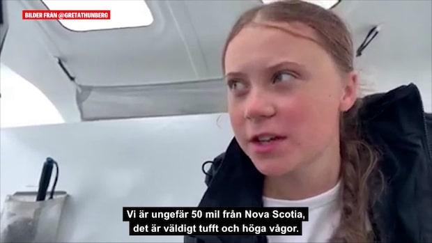 Se Greta Thunbergs senaste hälsning från båten