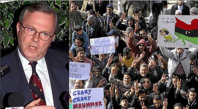 """SVÅRA ÖVERVÄGANDEN. """"Hur ingriper man med vapenmakt mot en ledare som är omgiven av åtminstone delvis lojala styrkor och som uppehåller sig mitt bland civilbefolkningen i sitt land?"""", skriver ambassadör Hans Corell. På stora bilden demonstrerar man mot Khadaffi i staden Tobruk i Libyen."""