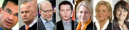 Nya ministrar: Ulf Kristersson, Peter Norman, Stefan Attefall, Erik Ullenhag, Catharina Elmsäter-Svärd, Hillevi Engström och Anna Karin Hatt