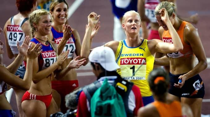 Carolina Klüft efter att ha slagit Europarekord på VM 2007. Foto: Emil Malmborg / © BILDBYRÅN